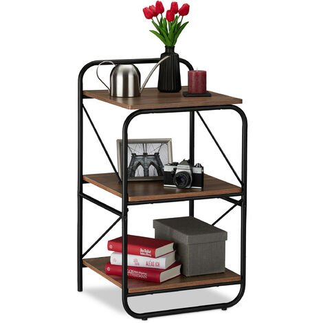 Relaxdays Freestanding Shelving Unit With 3 Shelves, Wood Look, Sturdy Metal Frame, 86.5 x 47.5 x 45 cm, Black/Brown
