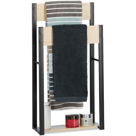 Relaxdays Freestanding Towel Holder, U-Design, 2-Tier Bathroom Towel Rack, HWD: 86 x 45 x 19 cm, Wood + Steel, Natural