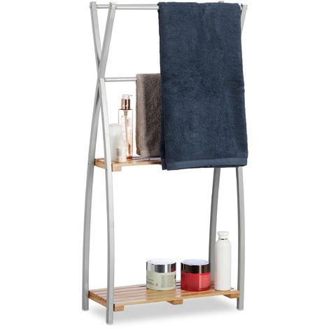 Relaxdays Freestanding Towel Holder, X-Design, 2-Tier Bathroom Towel Rack, HWD: 93 x 46 x 20 cm, Bamboo + Steel, Natural