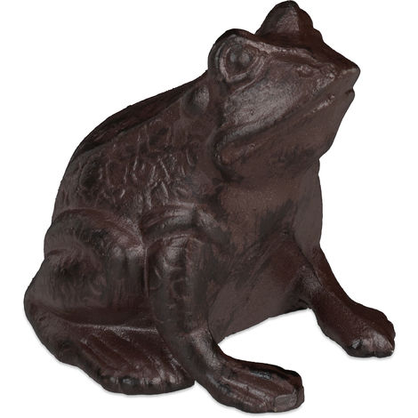 Relaxdays Frog Ornament Garden, Cast Iron, Weatherproof, Funny, Antique Design, For Patio, Balcony, Terrace, Brown