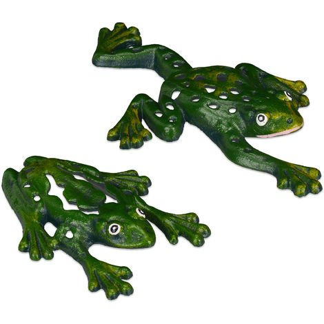 Relaxdays Frog Ornament Garden, Set of 2, Cast Iron, Weatherproof, Funny Decoration, Patio, Balcony, Terrace, Green