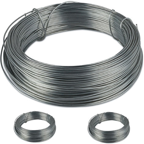 Relaxdays Galvanised Binding Wire Set of 3 Garden, Stainless Steel, Thin Wire, 50 m Long, 1 mm Thick, Silver, Rustproof