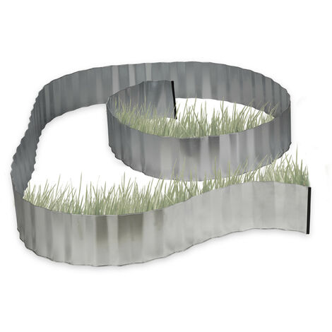 Relaxdays Galvanized Lawn Edging, Flowerbed Border, Metal, Garden Edge as Root Barrier, 5 m x 16 cm, Flexible, Silver, Grey