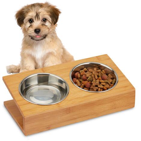Relaxdays Gamelle, chats & petits chiens, pour l'eau & la nourriture, écuelle inclinée, HLP 10 x 33,5 x 18 cm, naturel