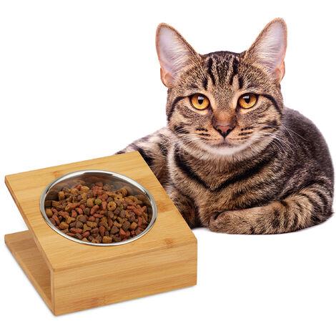 Relaxdays Gamelle, chats & petits chiens, pour l'eau & la nourriture, écuelle inclinée, HLP 10x18x18 cm, naturel