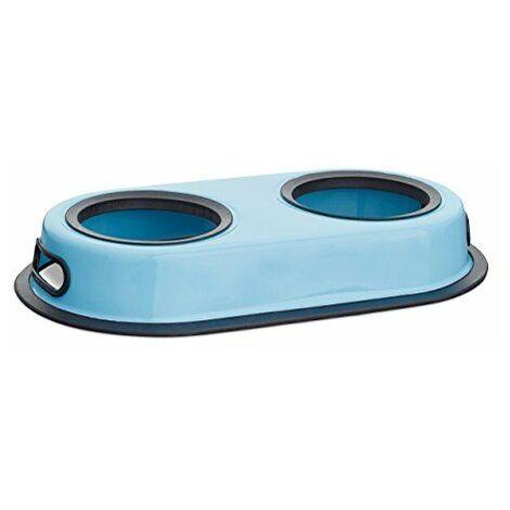 Relaxdays Gamelle pour double pour chien et chat amovible bleu inox HxlxP: 5,5 x 33 x 18 cm, bleu