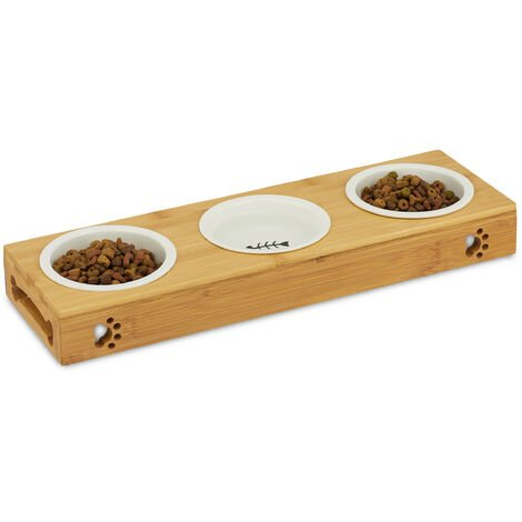 Relaxdays Gamelle triple en bambou, bols en céramique, eau et nourriture, adapté pour le lave-vaisselle, naturelle