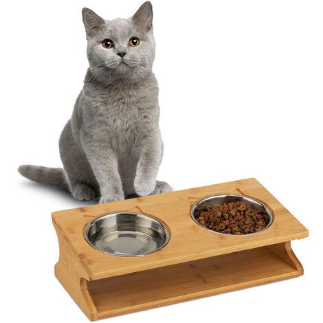 Relaxdays Gamelles, Chats et petits chiens, 2 bols de 300 ml chaque, bambou et acier, 12x39x19,5 cm, naturelle/argentée