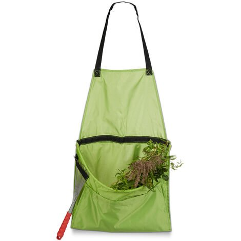 Relaxdays Garden Apron, Apron for Weeding and Harvesting, Adjustable Size, for Collecting Garden Waste, Green