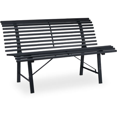 Relaxdays garden bench, 2 seater, 130 x 75 x 79 cm (LxWxH), durable steel, weatherproof outdoor seating, anthracite
