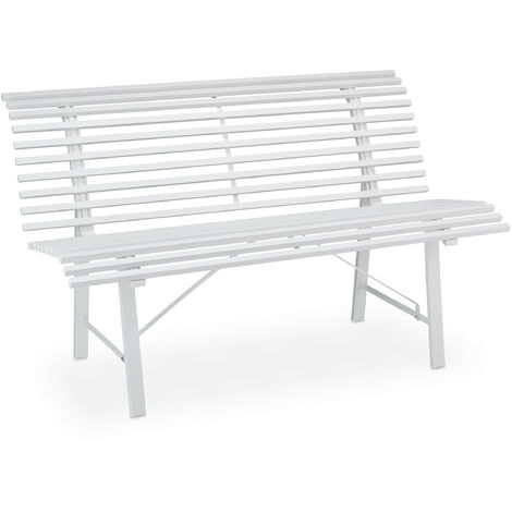 Relaxdays garden bench, 2 seater, 130 x 75 x 79 cm (LxWxH), durable steel, weatherproof outdoor seating solution, white