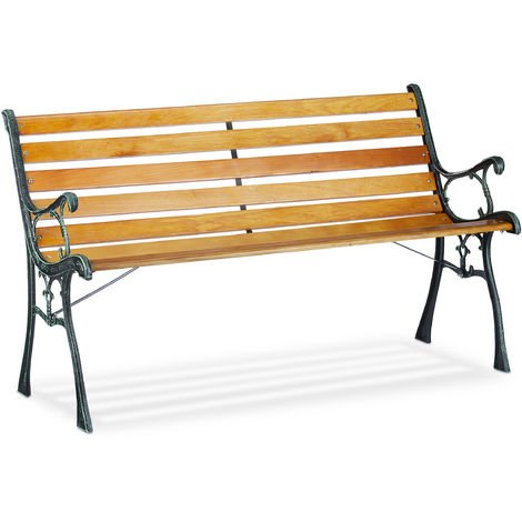 Relaxdays Garden Bench, 2-Seater, Wooden Slats, Cast Iron, Outdoor Balcony & Patio Seating HWD 73.5x126x52.5 cm, Natural