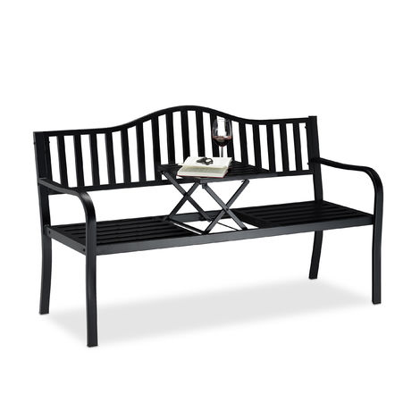 Relaxdays Garden Bench with Pop-up Table, 3 Seater. Integrated Table, Weatherproof, H x W x D 90 x 150 x 57.5 cm, Black