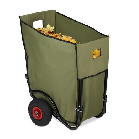 Relaxdays Garden Bin Cart, Large Foliage Waste Collector, Foldable Trolley, 2 Pneumatic Wheels, 160 L Sack, Green