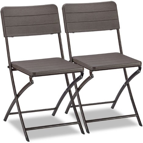 Relaxdays Garden Chairs Set of 2, Woodgrain Look, Weatherproof & Sturdy, Plastic; Metal Frame, Foldable, Balcony, Brown