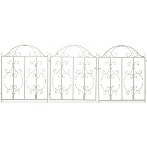 Relaxdays garden gate, 3 parts, expandable, ornate gate with 2 fence elements, made of steel, 185 x 98.5 cm (LxH), white