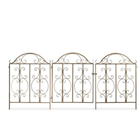 Relaxdays garden gate, 3 parts, expandable, ornate gate with 2 fence elements, made of steel, 185x98.5 cm (LxH), bronze
