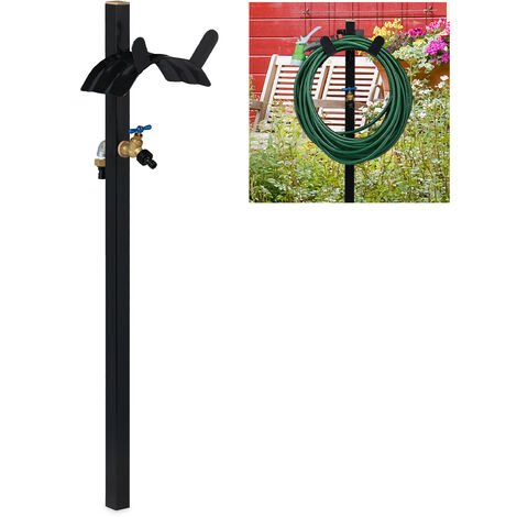 "Relaxdays Garden Hose Pipe Rack With Tap, 2x 3/4"" Connectors, For Max. 46m Hosepipe, Steel, 107.5 x 25 x 18 m, Black"
