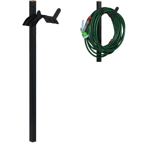 Relaxdays Garden Hosepipe Hanger, Freestanding & Portable Rack For 61m Hose Pipe, Steel, HWD 107.5 x 25 x 18 cm, Black