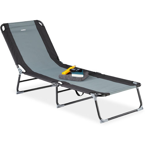 Relaxdays Garden Lounger, 5 Adjustable Settings, Folding Seat for Garden or Camping Trips, Black-Grey