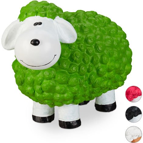 Relaxdays Garden Ornament Sheep, Frost-proof, Weather-proof, Hand-painted Garden Decoration, In-& Outside Use, Green