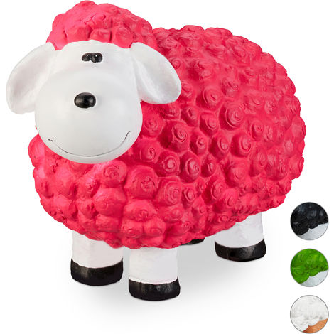 Relaxdays Garden Ornament Sheep, Frost-proof, Weather-proof, Hand-painted Garden Decoration, In-& Outside Use, Pink