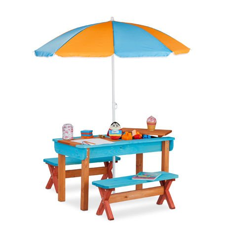 Relaxdays Garden Picnic Table Set, Wood, Play Table, 2x Bench, Parasol, Outdoor Kids Furniture, Colourful