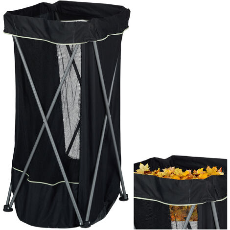 Relaxdays Garden Sack, Adjustable Outdoor Waste Bin, With Holder, 130 L, Compact, Black