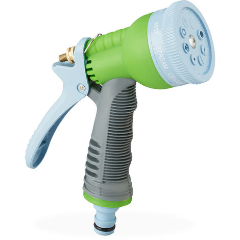 """Relaxdays Garden Spray Gun Pro, 8 Modes, Lockable Trigger Flow, 1/2"""" Connector, Hand Water Spray Gun, Multi-coloured"""