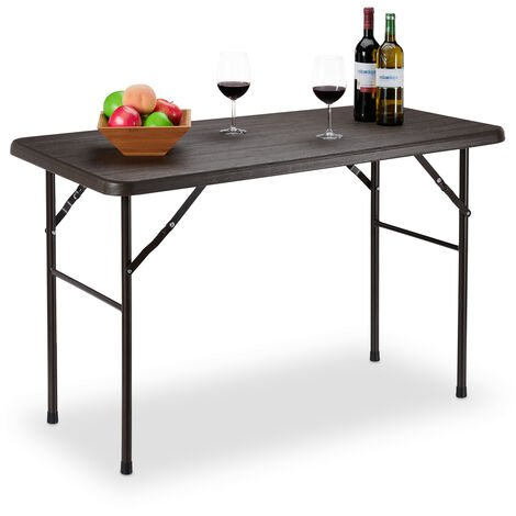 Relaxdays Garden Table, Wooden Look, Rectangular Folding Table, Plastic; metal, Balcony, H x W x D 74 x 120 x 60 cm, Brown