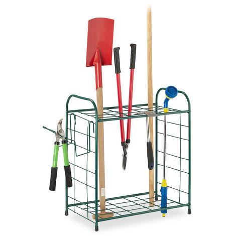 Relaxdays Garden Tool Rack, Outdoor Storage for Gardening Utensils, Yard Organiser, Garage Shelf, HWD: 68x80x35cm, Green