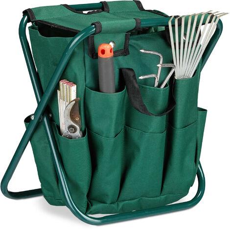 Relaxdays Garden Tool Storage Seat, Outdoor Equipment Storage, Foldable, HxWxD: 42 x 30 x 39 cm, Folding Stool for Gardening, Green