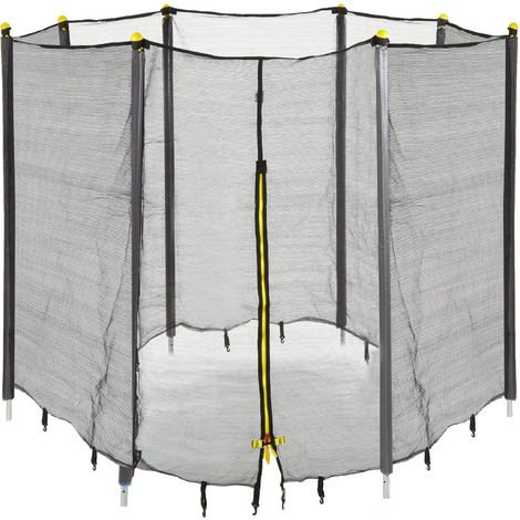 Relaxdays Garden Trampoline Safety Net with Padded Poles, Security Netting, Ø 366 cm, Black