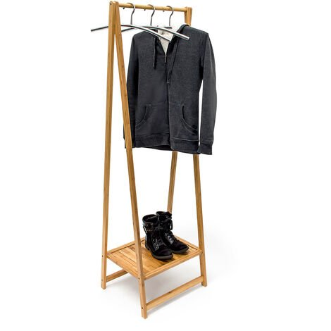 Relaxdays Garment Clothes Rail With Shoe Shelf Bamboo, 158.5 x 51.5 x 40.5 Coat Stand Wooden Suit Rack