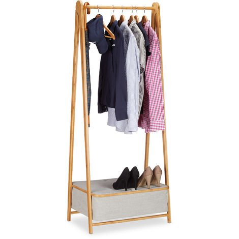 Relaxdays Garment Rack 160 cm, Bamboo Clothes Rails and Storage Box, Freestanding Valet, Natural