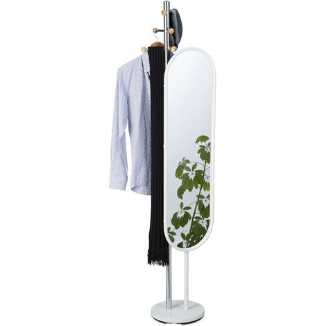 Relaxdays Garment Rack, Free Standing, Swivel Cheval Mirror, 175 cm Tall, Dressing Room Stand, Steel, White