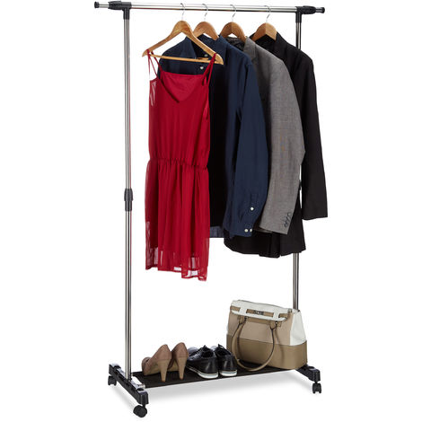 Relaxdays Garment Rack on Wheels, Rolling Clothes Rail with Storage Rack, Adjustable Height, 96 - 162, Silver
