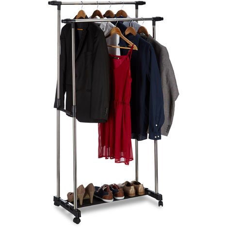 Relaxdays Garment Rack with 2 Clothes Rails on Wheels, Adjustable, HWD: 162x150x48 cm, Silver/Black