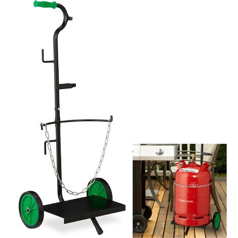 Relaxdays Gas Cylinder Dolly, 5 & 11 kg Propane Tank Hand Cart, Butane Bottle Trolley, Rubber Wheels, Steel, Black/Green