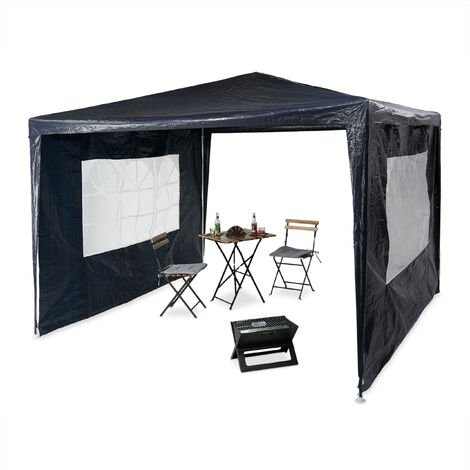 """main image of """"Relaxdays Gazebo 3x3 m, 2 Side Walls, Metal Frame, PE Cover, Window, Enclosed Festival Party Tent Event Shelter, Blue"""""""