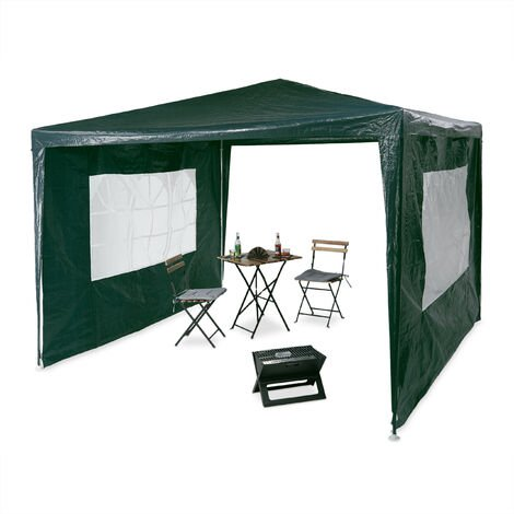 Relaxdays Gazebo 3x3 m, 2 Side Walls, Metal Frame, PE Cover, Window, Enclosed Festival Party Tent Event Shelter, Green
