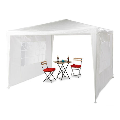 Relaxdays Gazebo 3x3 m, 2 Side Walls, Metal Frame, PE Cover, Window, Enclosed Festival Party Tent Event Shelter, White