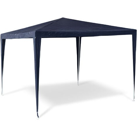 Relaxdays Gazebo Party Tent 2.5x3x3m Garden Canopy Pavilion Marquee, Roof, 100% PE, Tent for Festivals, Camping, Steel Frame, Blue
