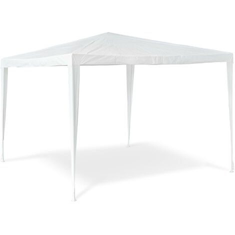 Relaxdays Gazebo Party Tent 2.5x3x3m Garden Canopy Pavilion Marquee, Roof, 100% PE, Tent for Festivals, Camping, Steel Frame, White