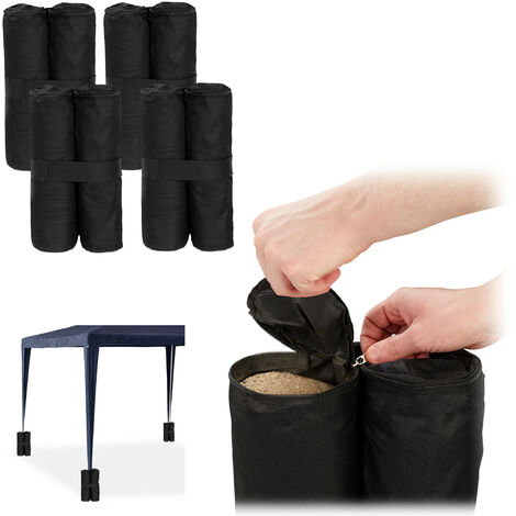 Relaxdays Gazebo Weights, Pack of 4, Outdoor Weight Bags, Fillable with Sand & Gravel, Tent Anchor, 10 kg per Leg, Black