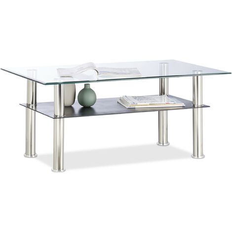 Relaxdays Glass Coffee Table, 2 Tiers, Cocktail Height; Stainless Steel Legs, 100 x 60 x 43 cm, Transparent