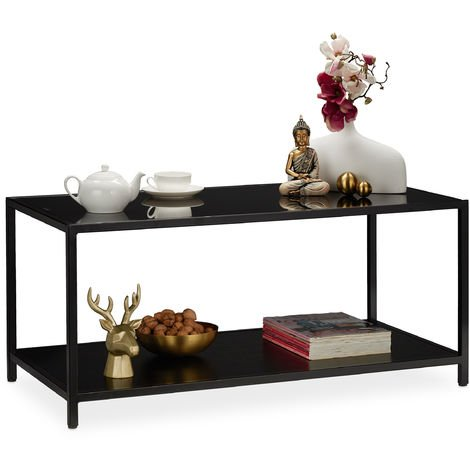 Relaxdays Glass Coffee Table, Living Room Stand, 2 Tiers, Metal Frame, HxWxD: app. 45 x 100 x 50 cm, Black