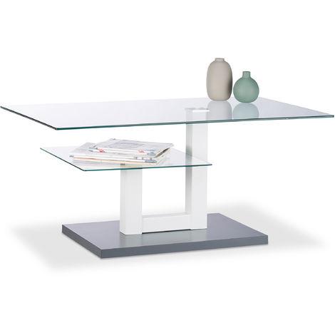 Relaxdays Glass Coffee Table, Rectangular, Glass Tabletop, Small Tray, Original Plant Stand, HxWxD: 45 x 100 x 60 cm, Gray