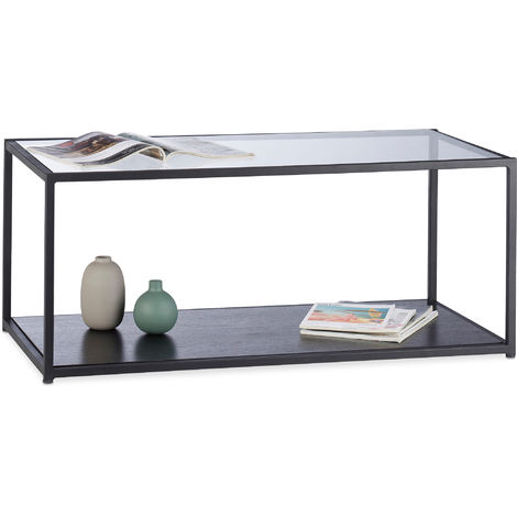 """main image of """"Relaxdays Glass Coffee Table, Rectangular, Metal Frame, Glass Tabletop, Tray, Living Room Side Table, HxWxD: 42 x 100 x 50 cm, Black"""""""