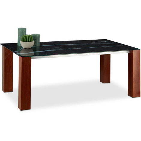 Relaxdays Glass Coffee Table, Tempered Glass Tabletop, Metal Legs with Rosewood Finish, HxBxT: 109 x 60 x 42 cm, Black/Brown